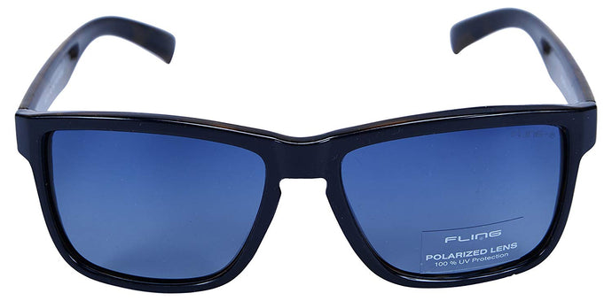 Fling Polarized Rectangular Men's Sunglasses - (S018_F3|55 mm|Blue Lens)