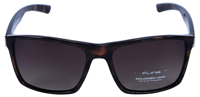 Fling Polarized Rectangular Men's Sunglasses - (S010_F4|56 mm|Brown Lens)