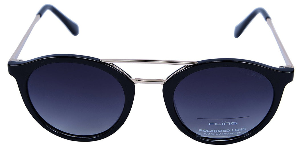 Fling Polarized Round Unisex Sunglasses - (S008_F1|48 mm|Grey Lens)