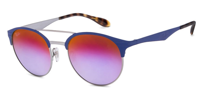 Ray-Ban RB3545 Medium (Size-51) Silver Blue Purple Mirror 9005/A9 Unisex Sunglasses