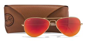 Ray-Ban RB3025 Large (Size-58) Golden Red Orange Mirror 112/69 Unisex Sunglasses