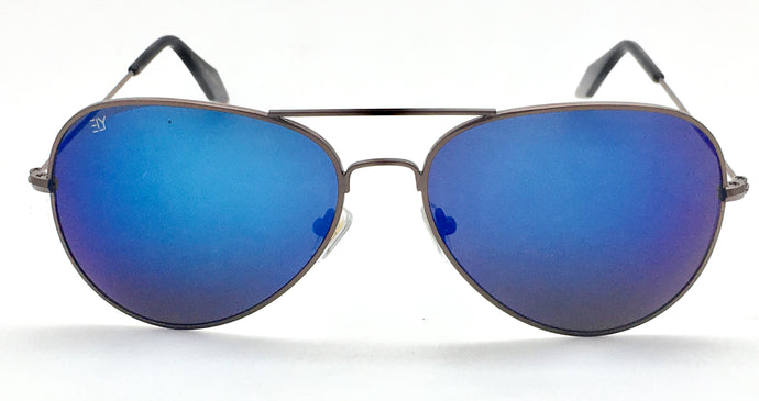 Angrish Brown Blue Mercury Aviator Sunglasses | AG-1293-BRBLM|