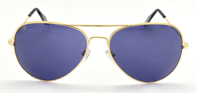 Angrish Golden blue Aviator Sunglasses | AG-1293-GLBLU|