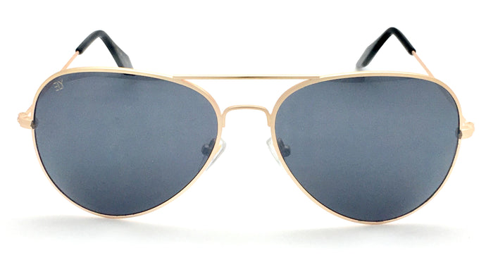 Angrish Golden Dark Grey Aviator Sunglasses | AG-1293-GLDGR|