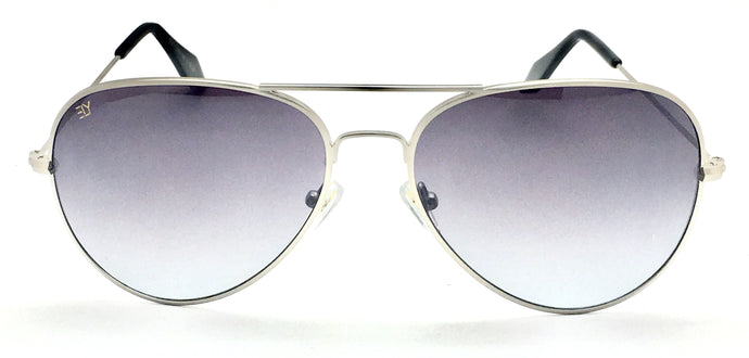 Angrish Silver Dark Grey Aviator Sunglasses | AG-1293-SLDGR|