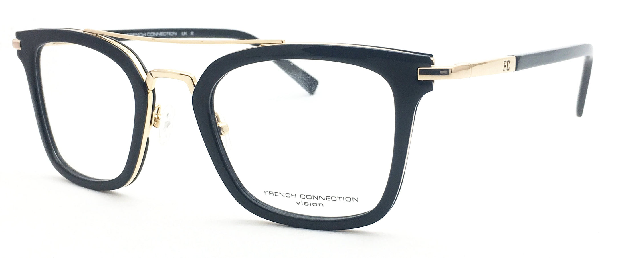 French Connection FC-8089-C2 Black Rectangle Eyeglasses