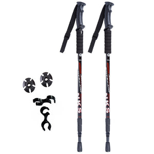New Anti Shock Nordic Walking Sticks Hiking Poles Ultralight With Rubber Tips Protectors