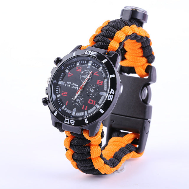NEW Tactical multi Outdoor Camping Watch Compass Rescue Rope Paracord