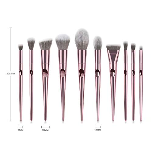 10 Piece Premium Professional Makeup Brush Set With Carrier - Lady Essentials