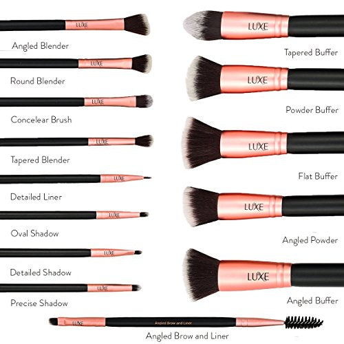 14 Piece Luxe Premium Makeup Brush Set with Brush Cleaning Solution - Lady Essentials