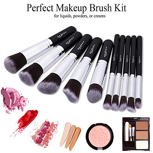 10 Piece Makeup Brush Kit with Blender Sponge and Brush Cleaner - Lady Essentials