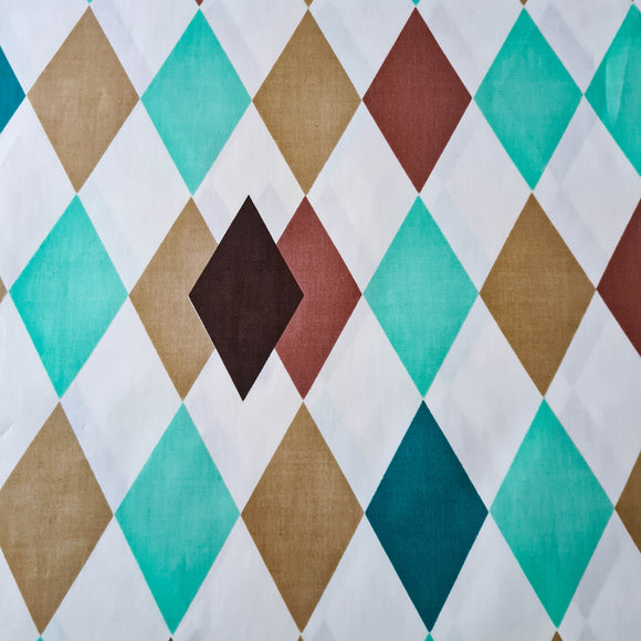 Teal + Brown Harlequin Chintz | Vintage Fabric