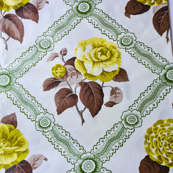 Green Camellia Floral Chintz | 1950's Vintage Fabric