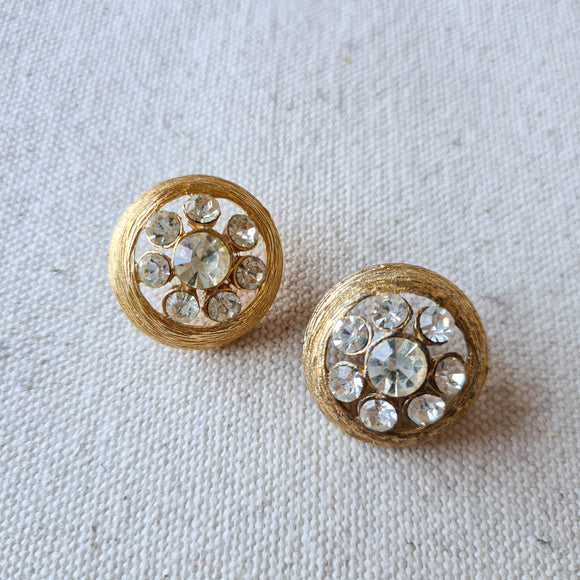 Gold Metal Diamante Buttons | Vintage | Set of 2