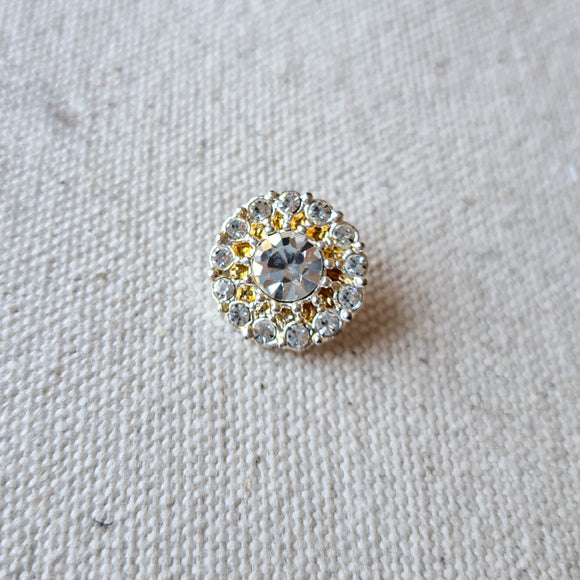 Vintage Diamante Button #13 - Metal