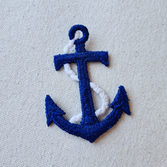 Large Blue Anchor Sew-On Patch