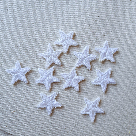 XS White Star Iron-On Patch