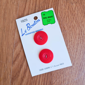 "Le Bouton Red Plastic 7/8"" Vintage Buttons - Made in Thailand"