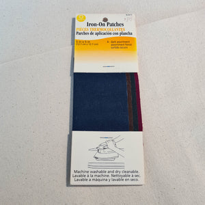 "Coats Iron-On Mending Patches - 5"" x 5"" - Burgundy, Forest, Brown, Navy"