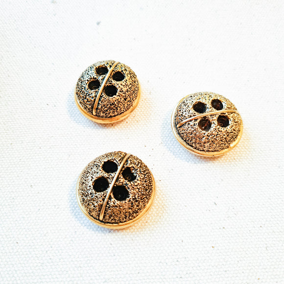 Vintage Gold Textured Bubble Button - 1 1/8