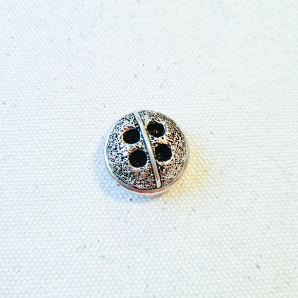 Vintage Silver Textured Bubble Button - 7/8
