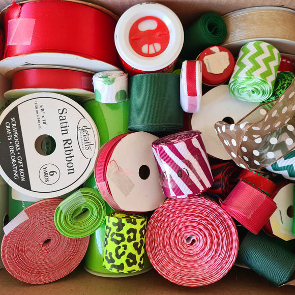 Ribbon Stash-Builder Box | Christmas Colors | Free Shipping