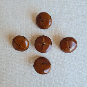 "1"" Warm Brown Leather-Look Woven Buttons 