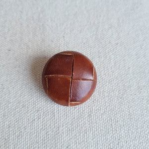"1"" Deep Camel Leather-Look Woven Buttons 