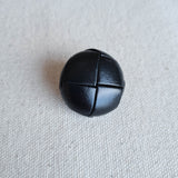 "1"" Black Leather-Look Woven Buttons 