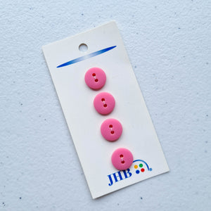 "1/2"" Simple Dark Pink Plastic Buttons 