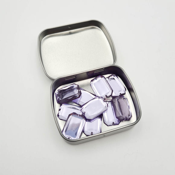 Tin of 10 Rectangular Sew-On Rhinestones | Purple