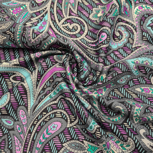 Purple Paisley | Silky Polyester