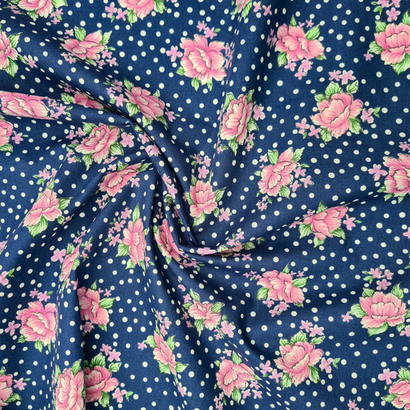 Dottie Floral Broadcloth | Navy | Robert Kaufman