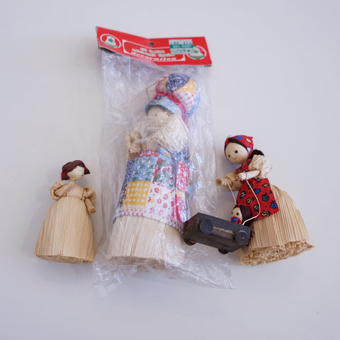 Set of 3 Corn Husk Doll Ornaments