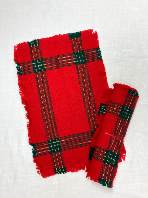 Red Christmas Plaid Placemats Set of 4