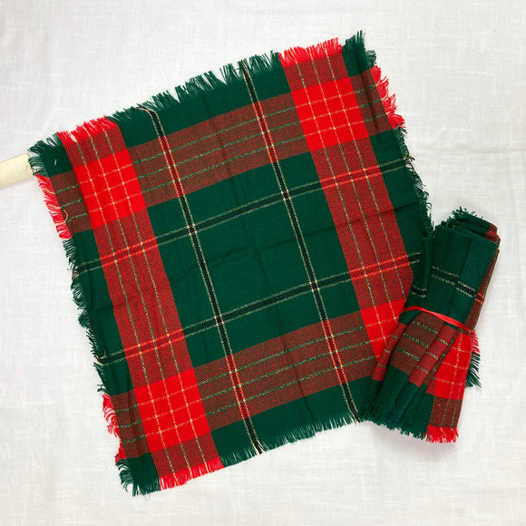 Green Christmas Plaid Napkins Set of 4