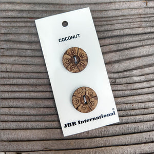 "3/4"" Carved Coconut Buttons - JHB"