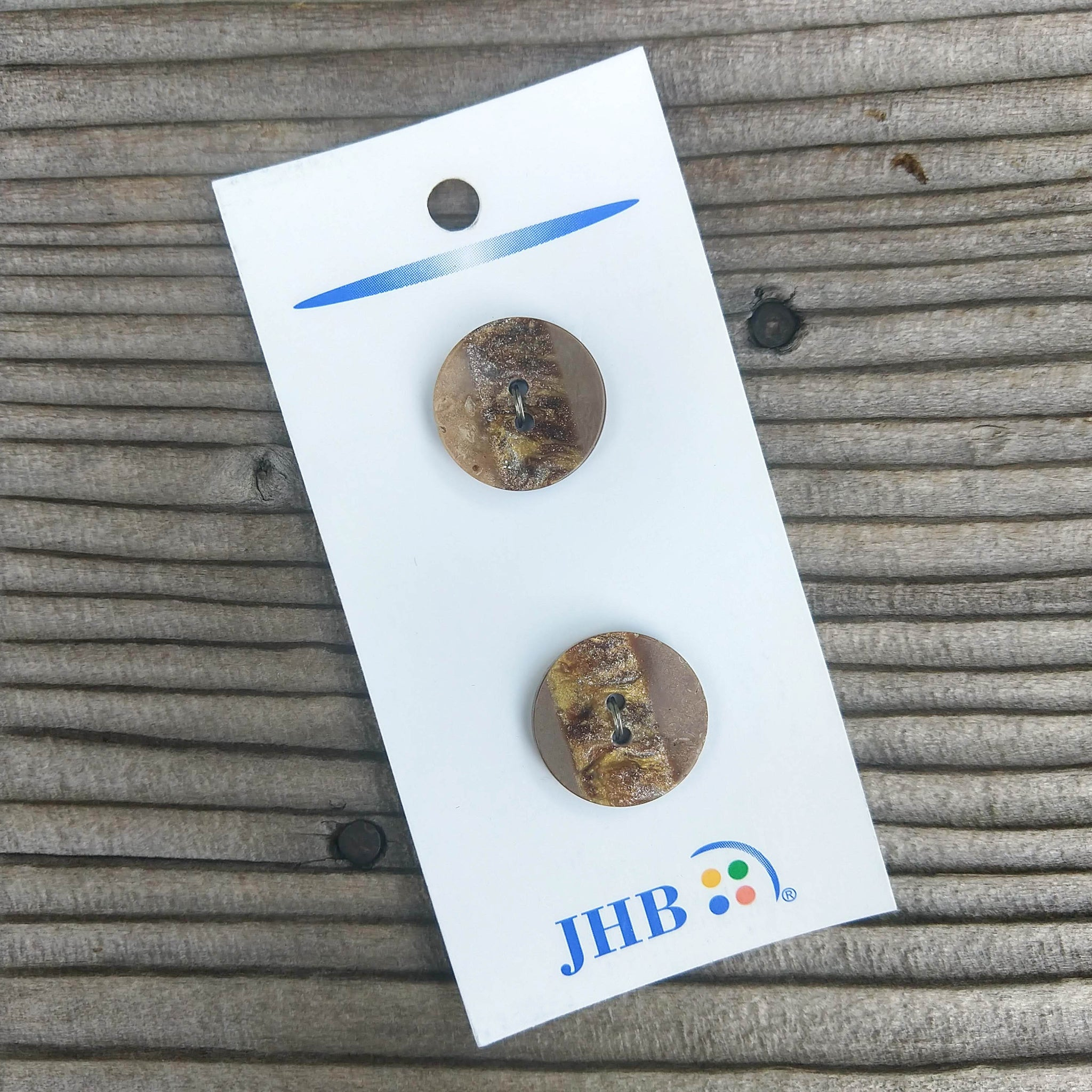 "3/4"" Layered Brown + Gold Buttons - JHB"