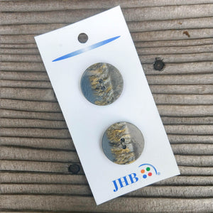 "7/8"" Layered Gray + Gold Buttons - JHB"