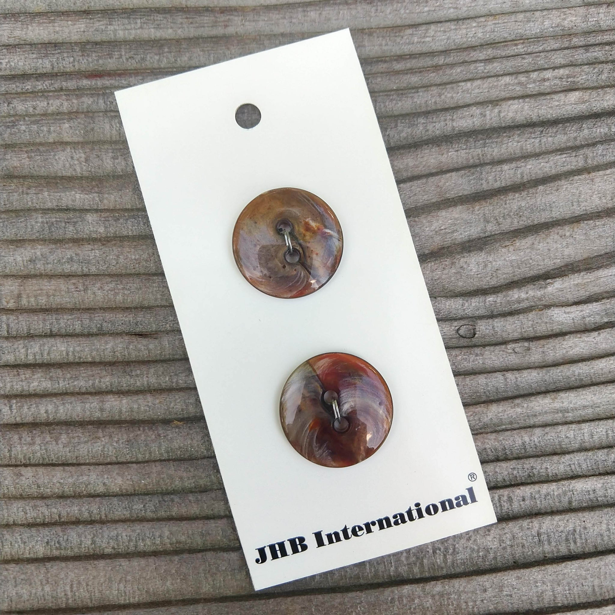 "3/4"" Brown Pearlescent Swirl Buttons - JHB - Made in Italy"