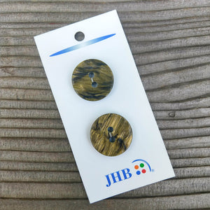 "7/8"" Shiny Olive Marble Button - JHB - Made in Italy"