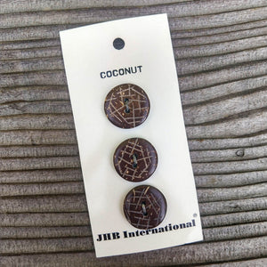 "3/4"" Dark Coconut Buttons - JHB - Made in the Philippines"