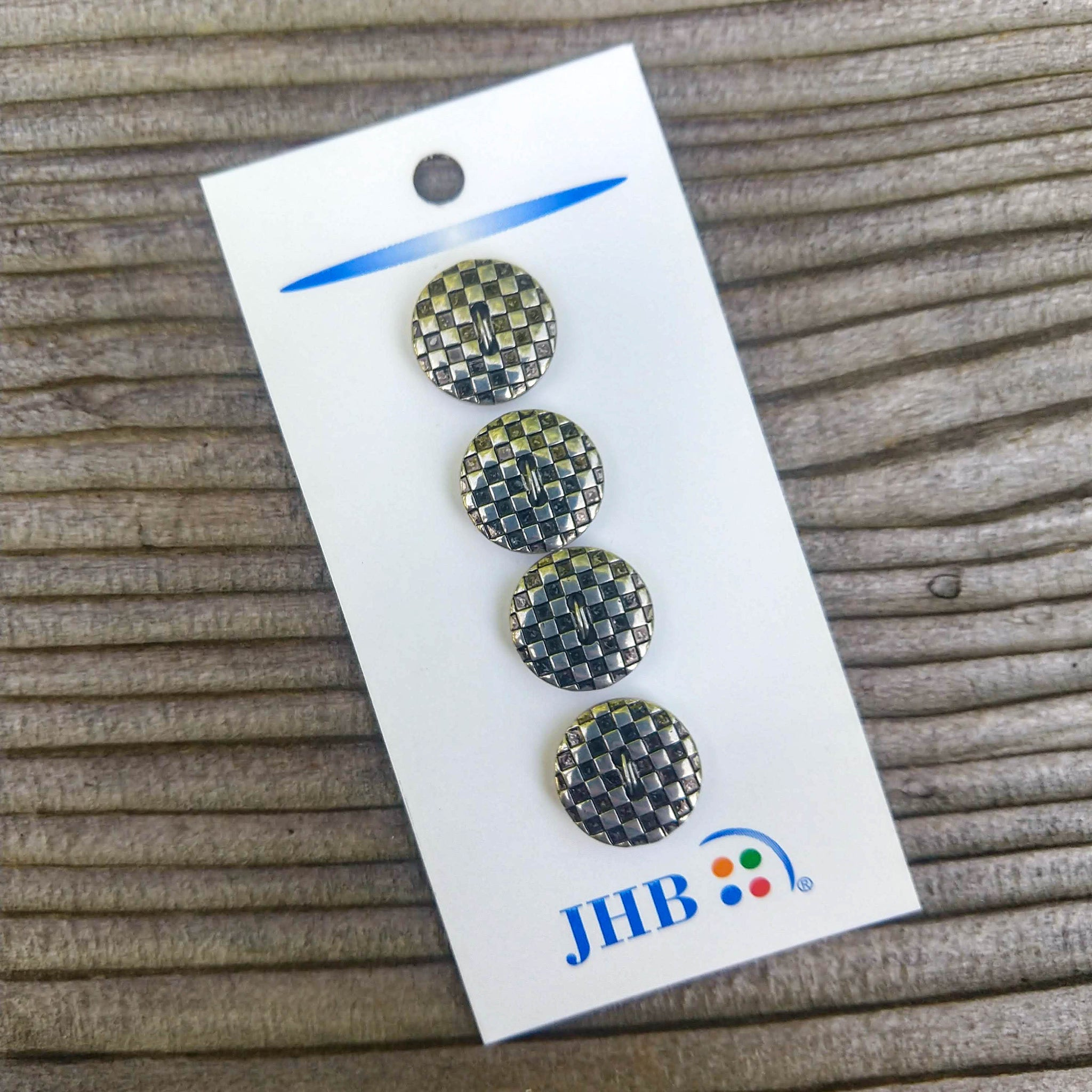 "5/8"" Checkered Silver Buttons - JHB - Made in Taiwan"