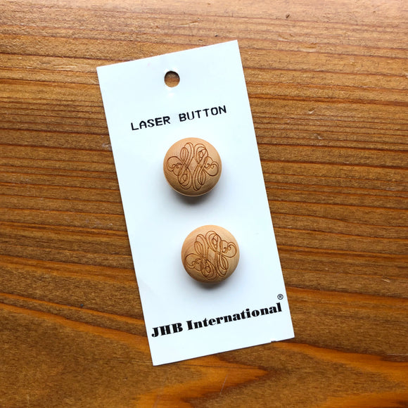 3/4 Laser Cut Wood Shank Buttons - JHB - Made in France
