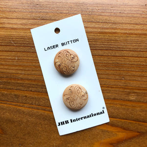 7/8 Laser Cut Wood Shank Buttons - JHB - Made in France