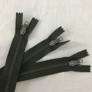 "Olive 24"" Heavy Duty Visible Metal Zippers"