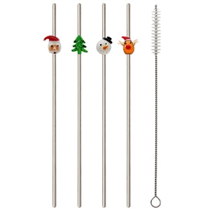 Metal Straws with Festive theme (pack of 4)