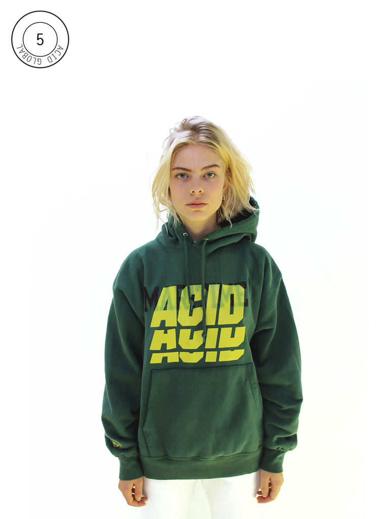 ACID 5 - GREEN OVER DYED VINTAGE HOODIE
