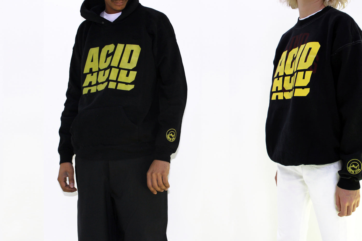 ACID 2 - BLACK OVER DYED VINTAGE HOODIE