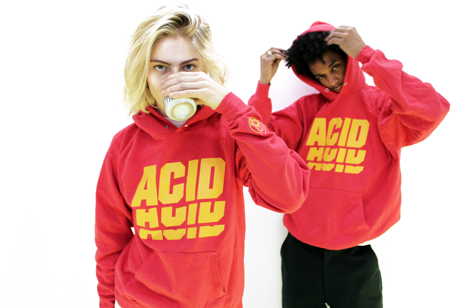 ACID 3 - RED OVER DYED VINTAGE HOODIE